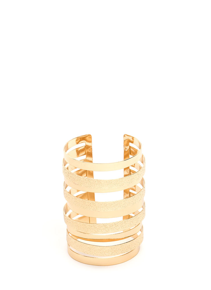 Alternate Reality Textured Caged Cuff GOLD