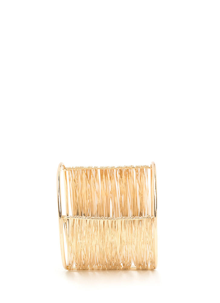 Totally Foolproof Textured Caged Cuff GOLD