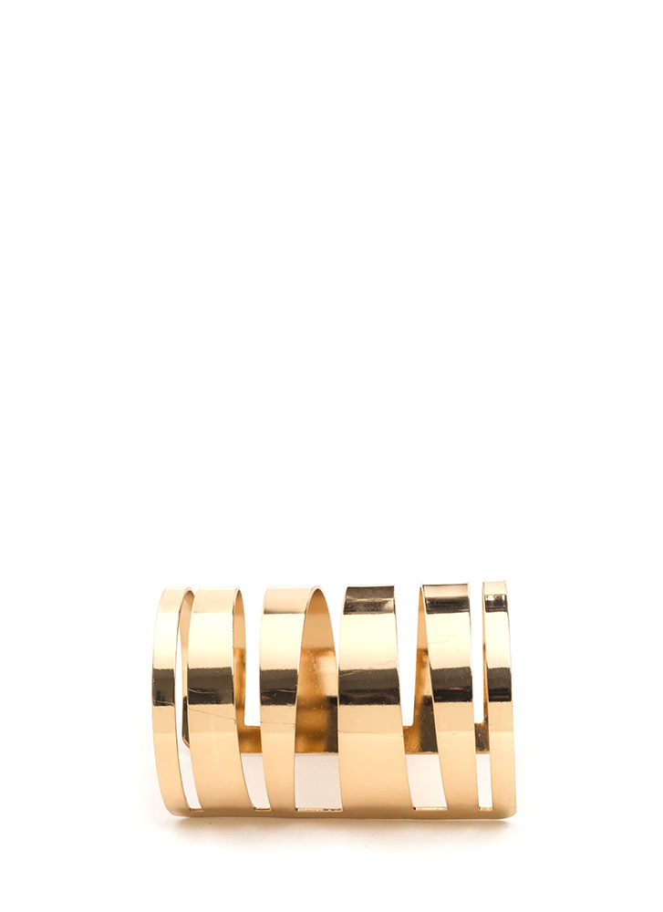 All The Cage Wide Metal Cuff Bracelet GOLD