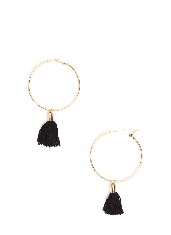 It Takes Two Tasseled Hoop Earrings BLACKGOLD