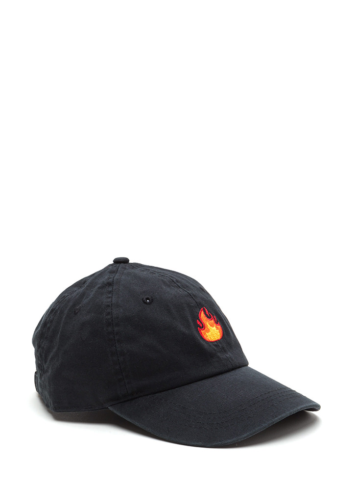 Fire Drill Embroidered Flames Cap BLACK