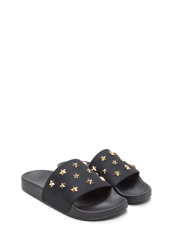 Star-Studded Affair Slide Sandals BLACK