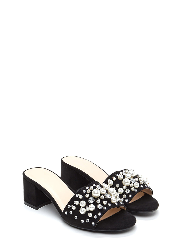 Pearl Diving Chunky Jeweled Mules BLACK