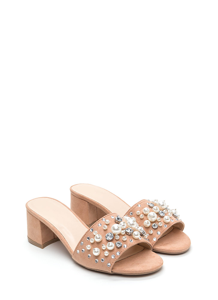 Pearl Diving Chunky Jeweled Mules BLUSH