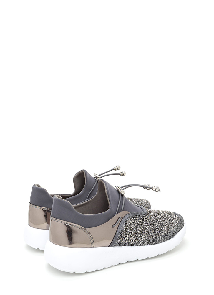 More Sparkle Toggle Platform Sneakers PEWTER