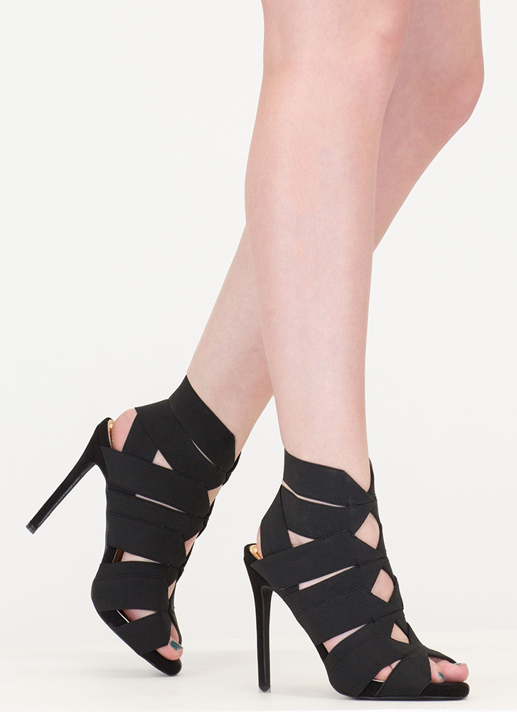 With The Bands Strappy Cut-Out Heels BLACK