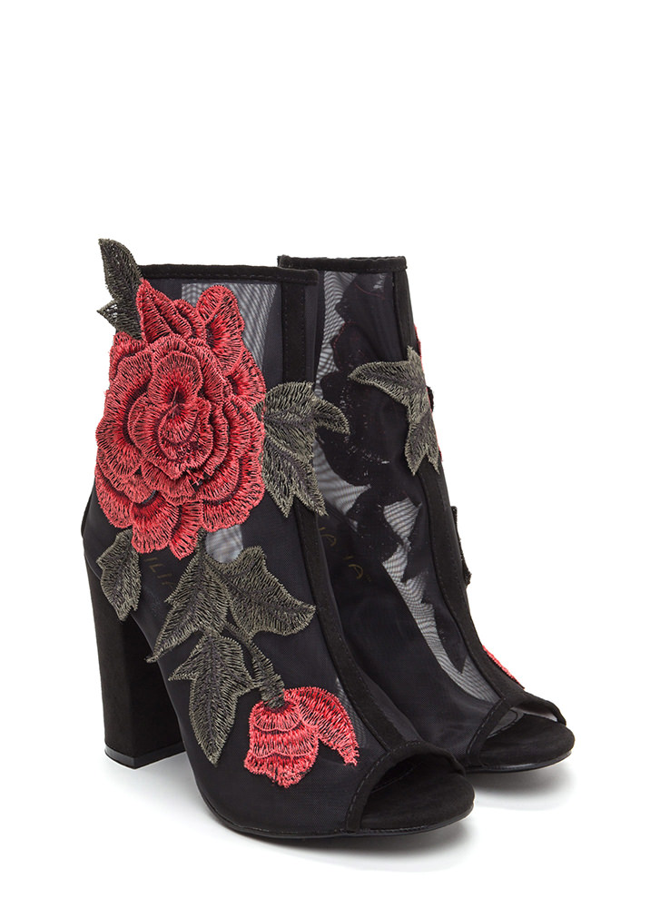 Floral Dimension Chunky Mesh Booties BLACK