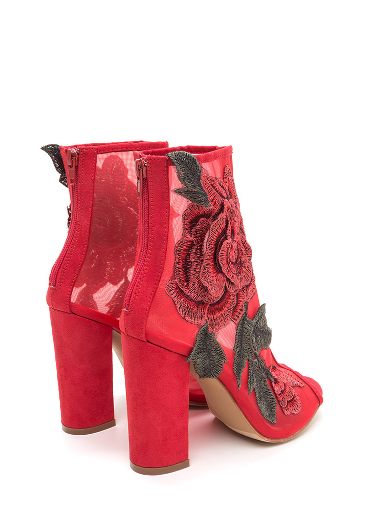 Floral Dimension Chunky Mesh Booties RED