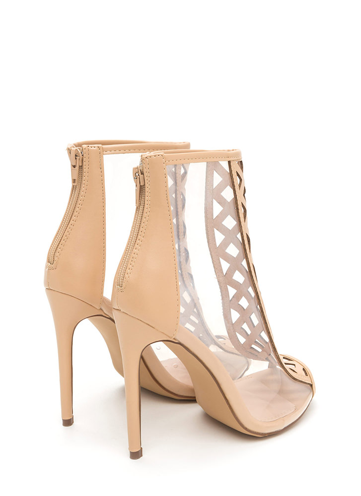 Clear Choice Latticed Metallic Heels NUDE