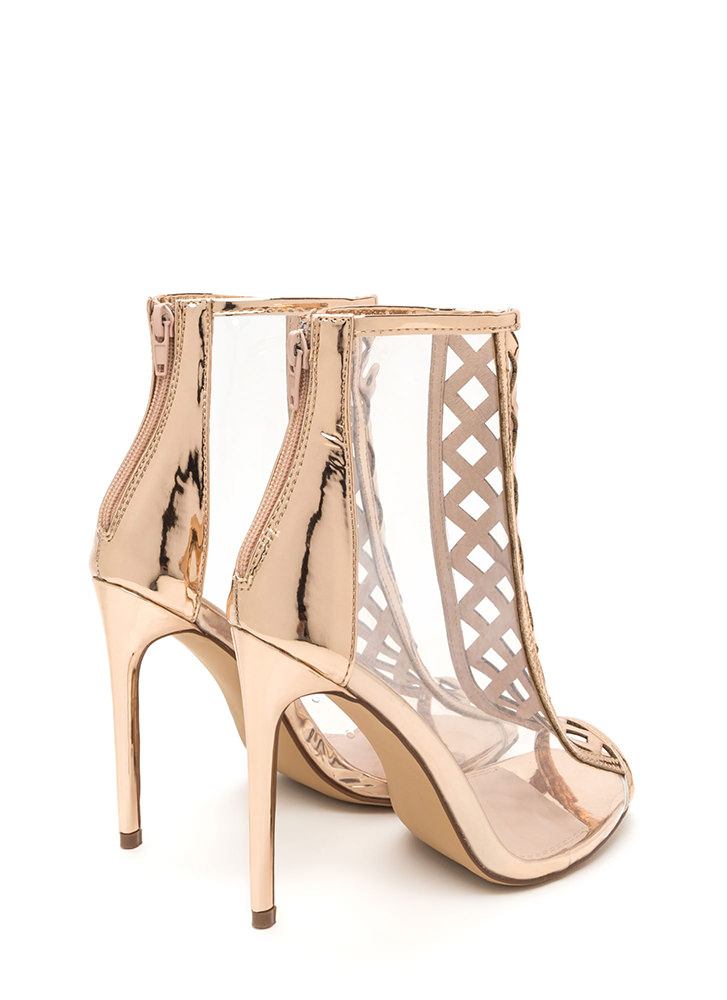 Clear Choice Latticed Metallic Heels ROSEGOLD