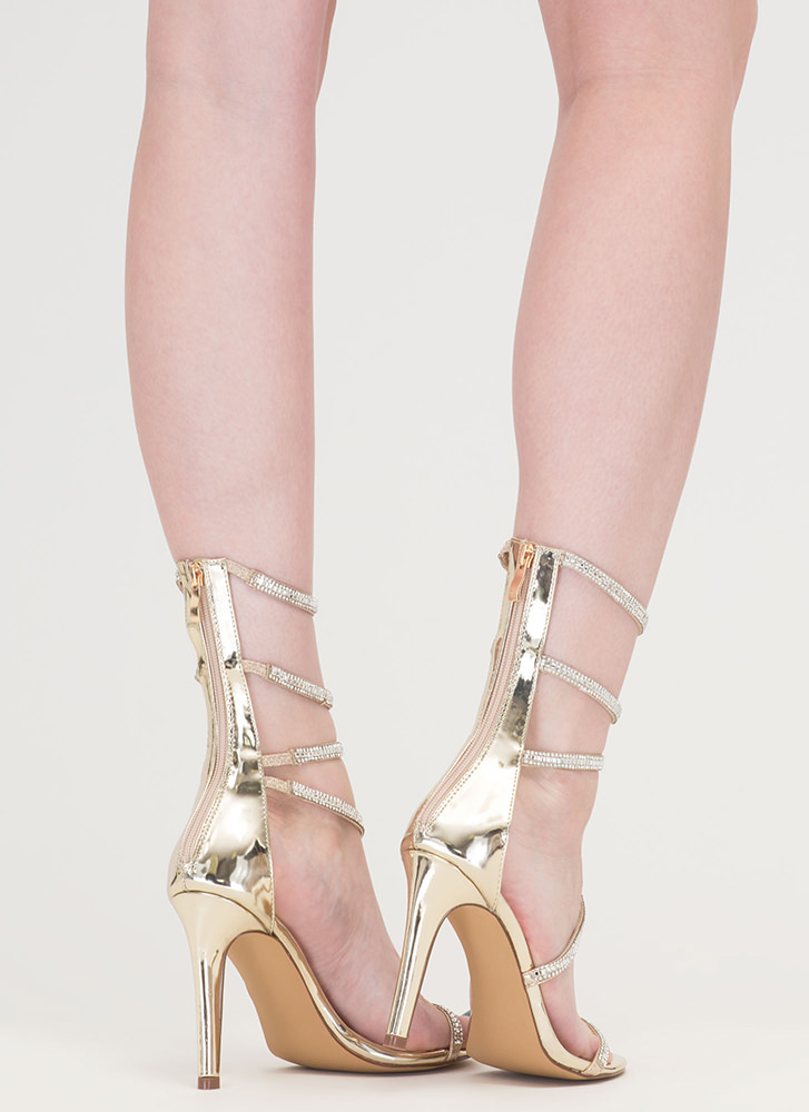 Strappy Life Jeweled Metallic Heels GOLD