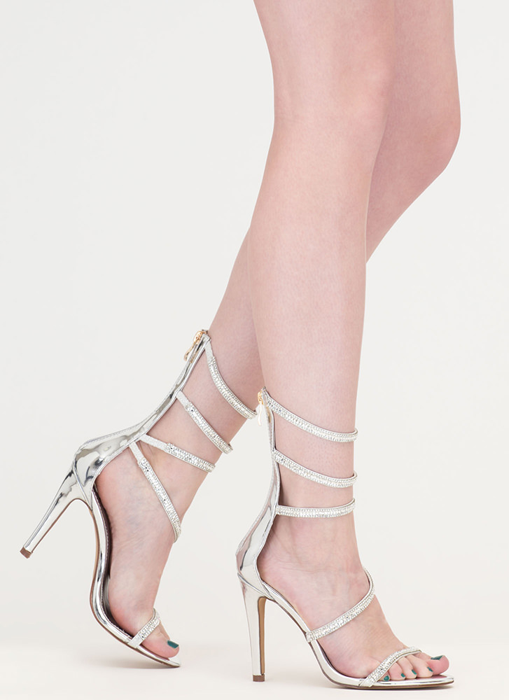 Strappy Life Jeweled Metallic Heels SILVER