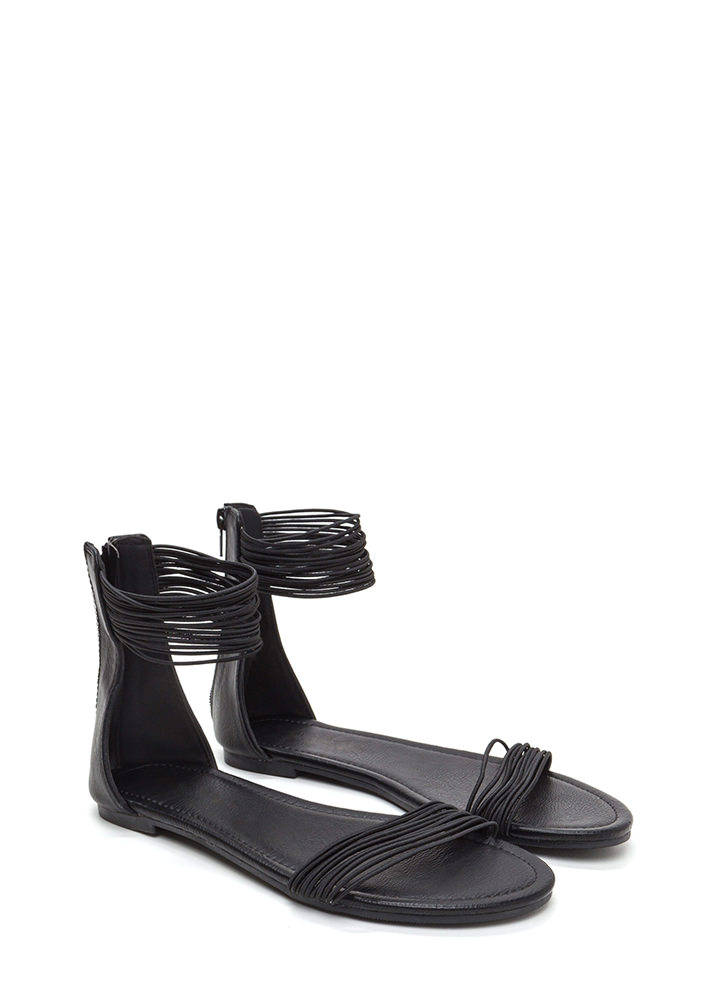 Power Cords Stacked Strap Sandals BLACK