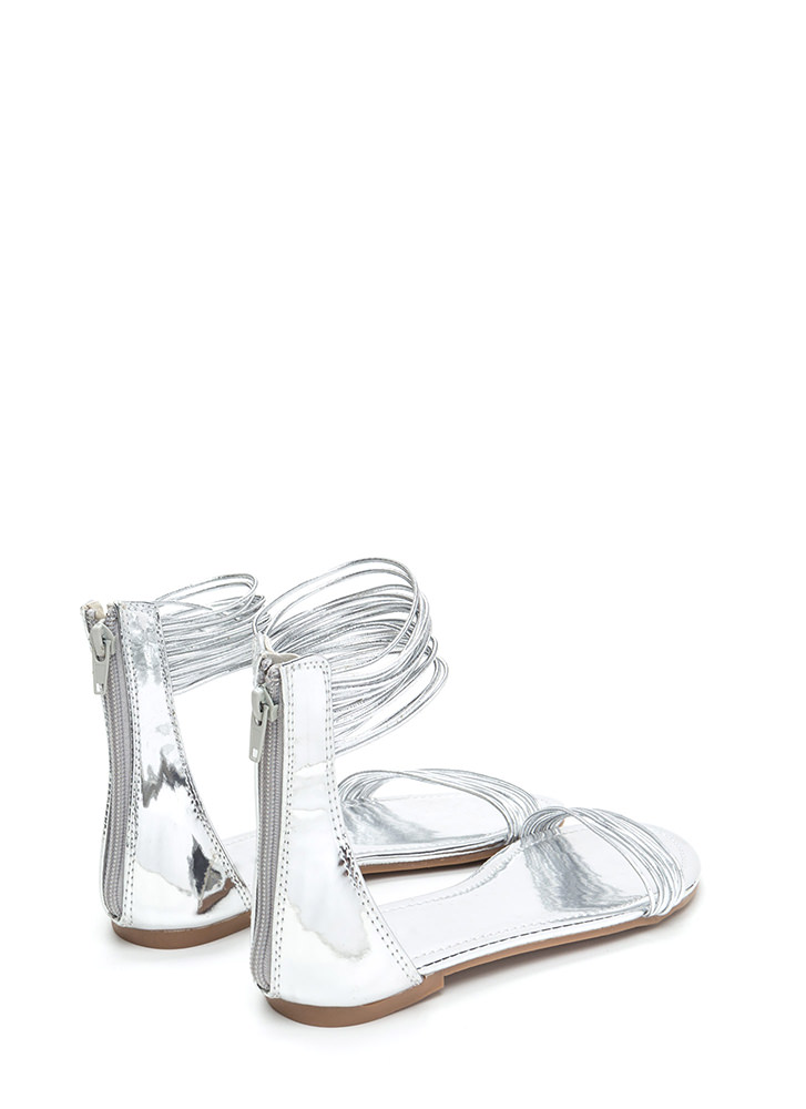 Power Cords Metallic Strap Sandals SILVER