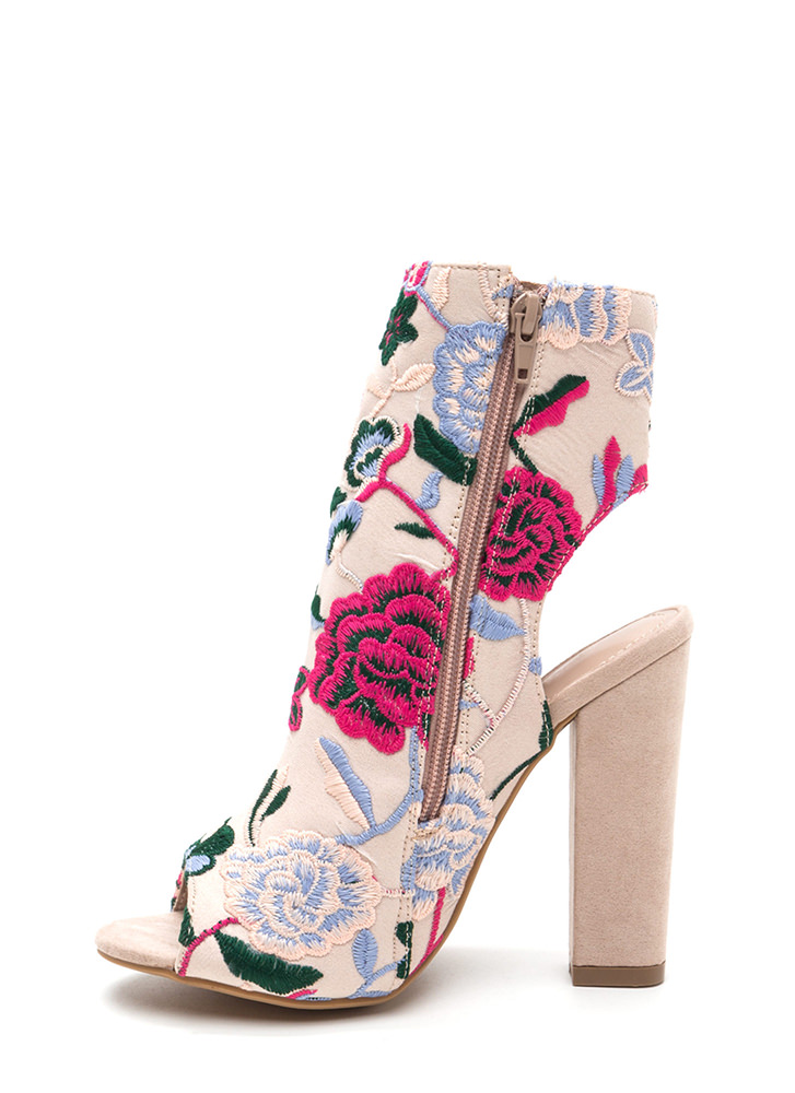 Bold Blooms Chunky Embroidered Booties MULTI