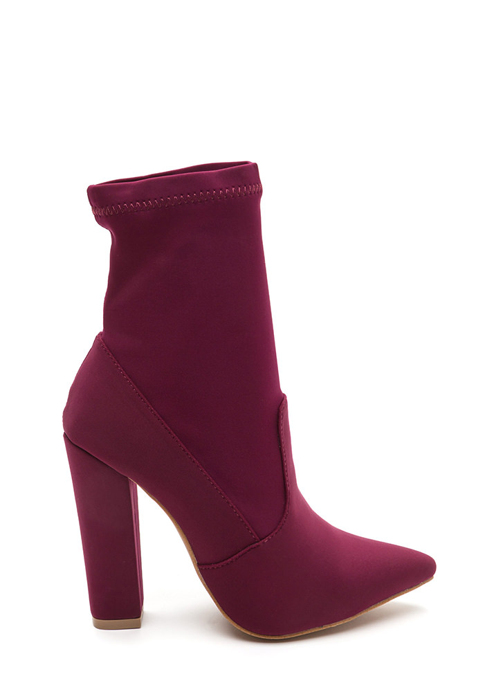 Chic In The City Pointy Booties WINE