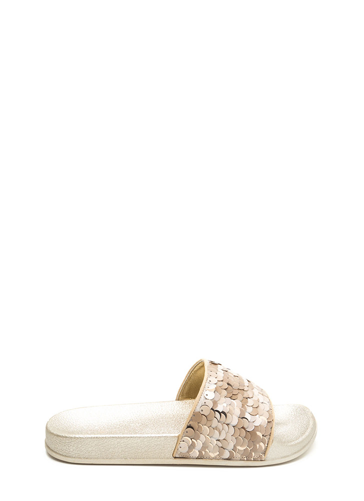 Tip The Scales Metallic Sequined Slides GOLD
