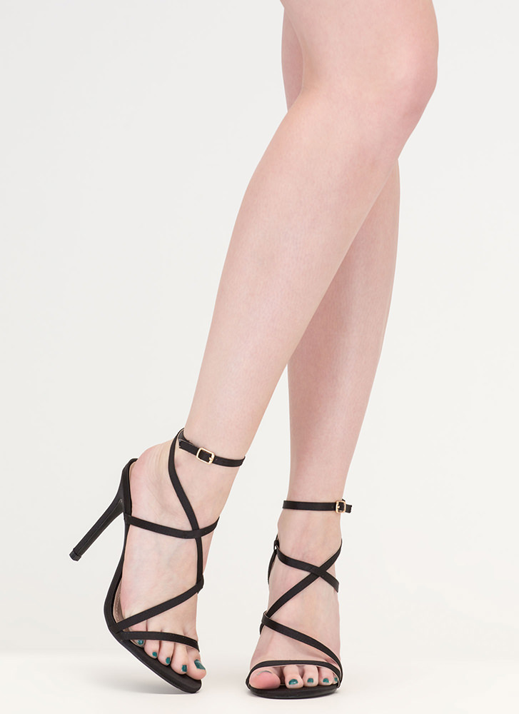 Strappy Happy Caged Satin Heels BLACK