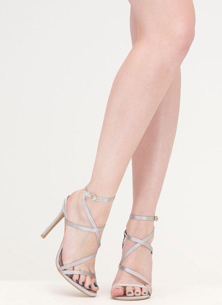 Strappy Sensation Satiny Caged Heels SILVER