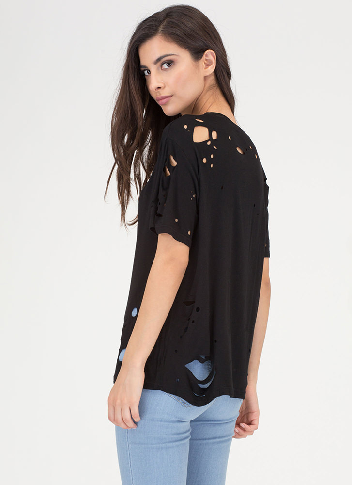 Tell The Hole Truth Distressed Tee BLACK