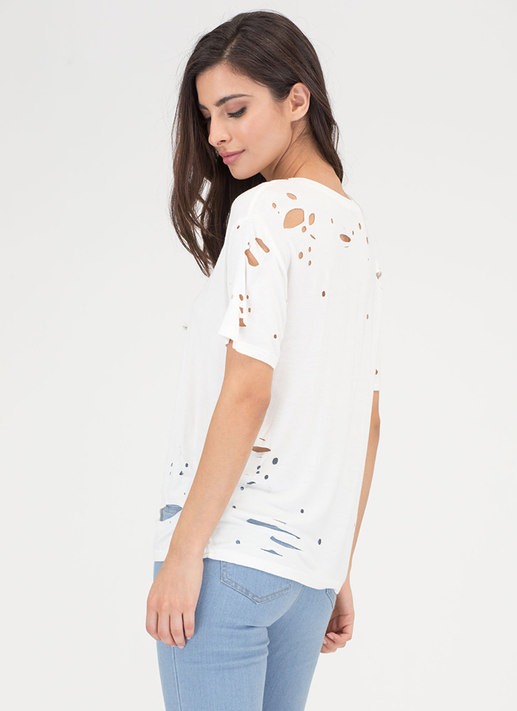 Tell The Hole Truth Distressed Tee WHITE