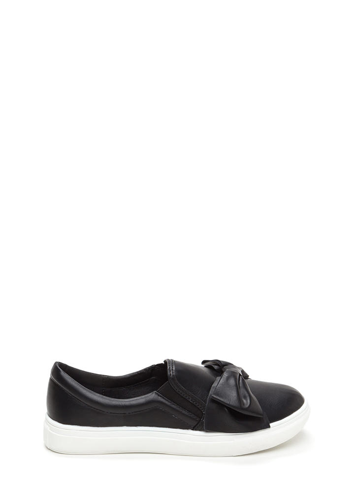 Be My Bow Faux Leather Slip-On Sneakers BLACK