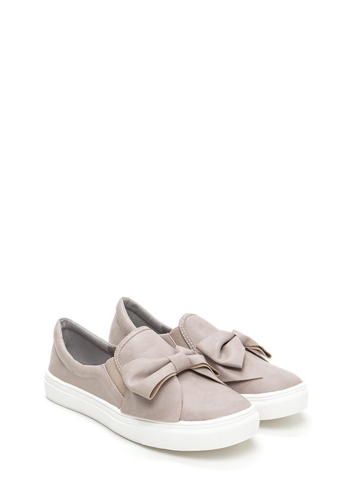 Be My Bow Faux Leather Slip-On Sneakers LTTAUPE