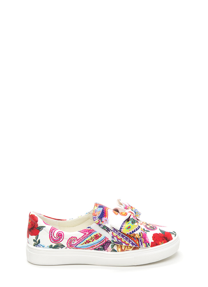 Be My Bow Floral Slip-On Sneakers FLORAL