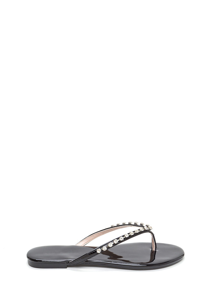 Twinkle Toes Faux Patent Thong Sandals BLACK