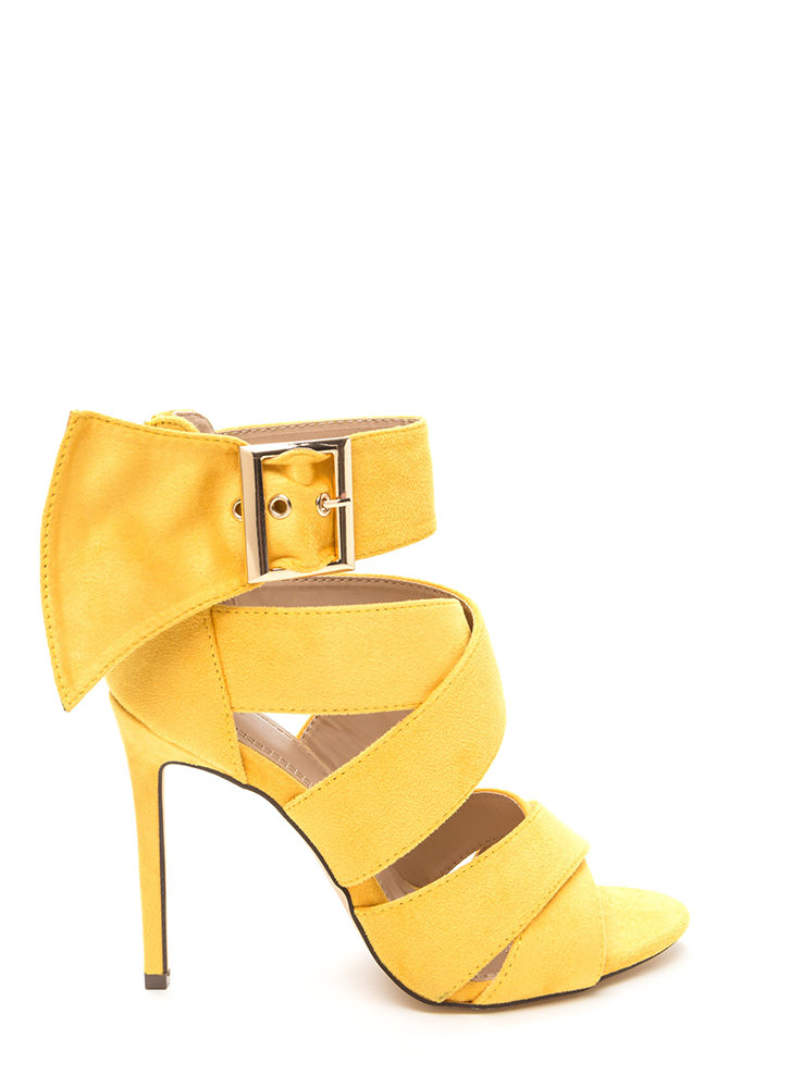 Fashion Fetish Strappy Faux Suede Heels YELLOW