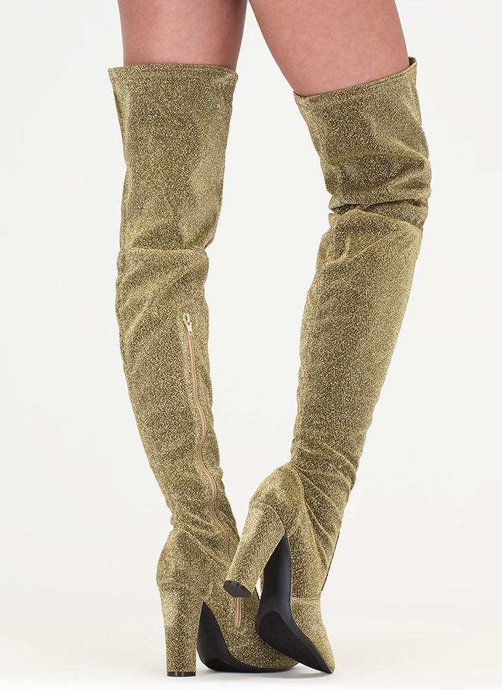 Effortless Glam Shiny Thigh-High Boots GOLD