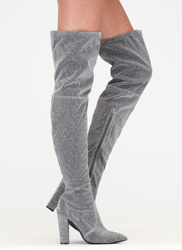 Effortless Glam Shiny Thigh-High Boots SILVER