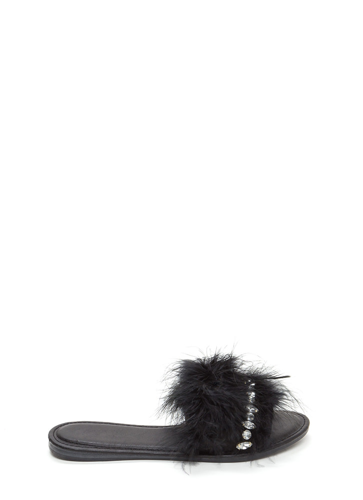 Light As A Feather Glitzy Slide Sandals BLACK