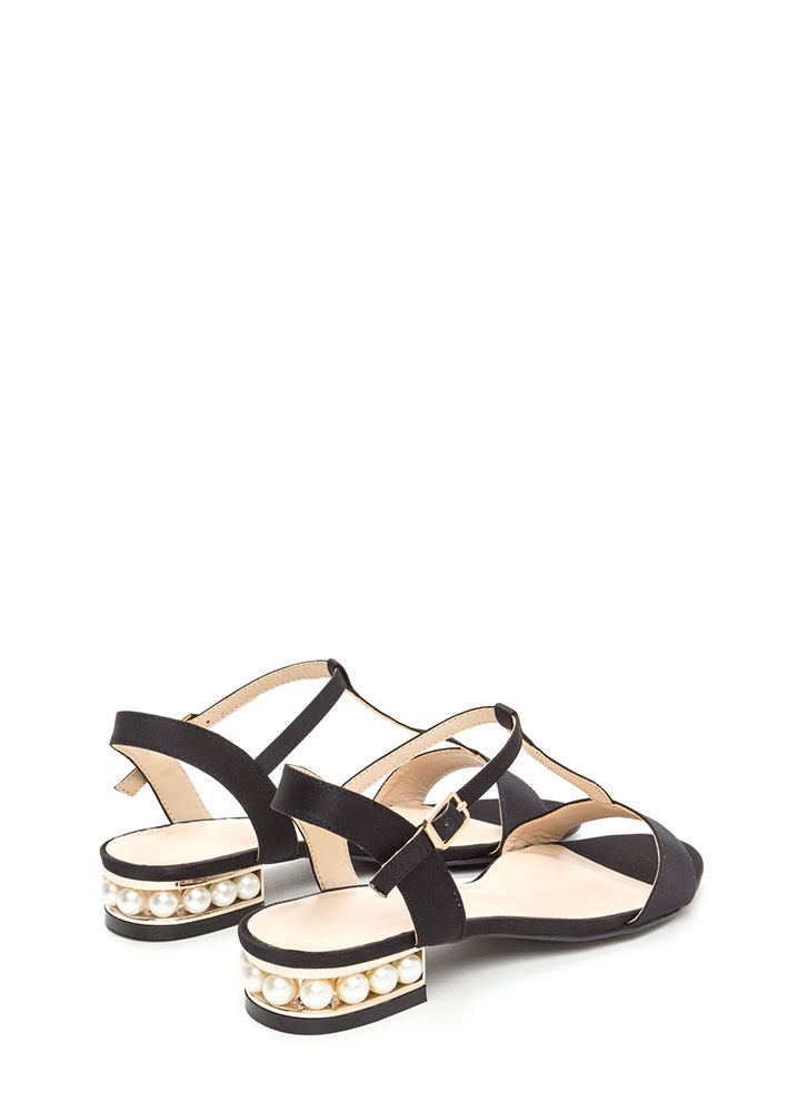 Luxe Good Faux Pearl Satin Sandals BLACK