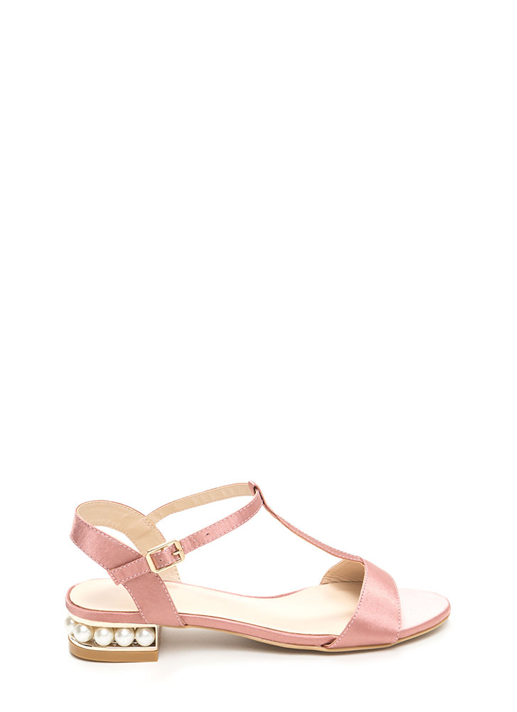 Luxe Good Faux Pearl Satin Sandals MAUVE