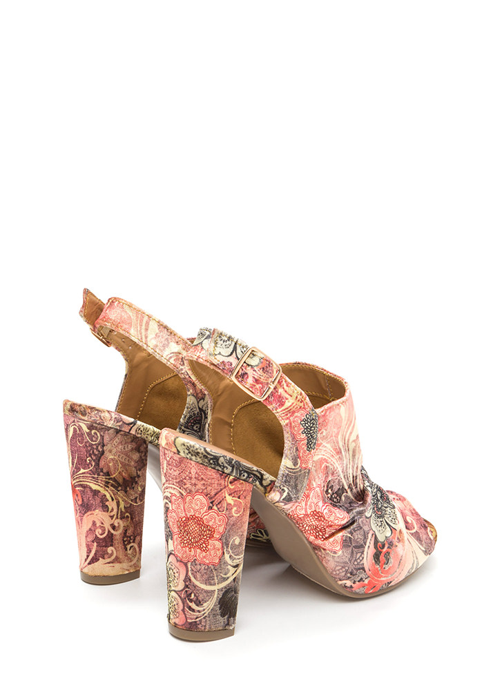 Sassy Style Chunky Cut-Out Floral Heels MAUVE