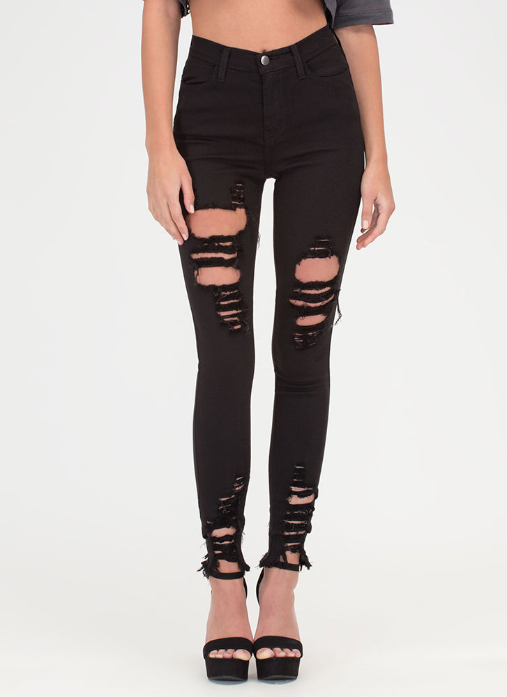 Fray Along High-Waisted Skinny Jeans BLACK