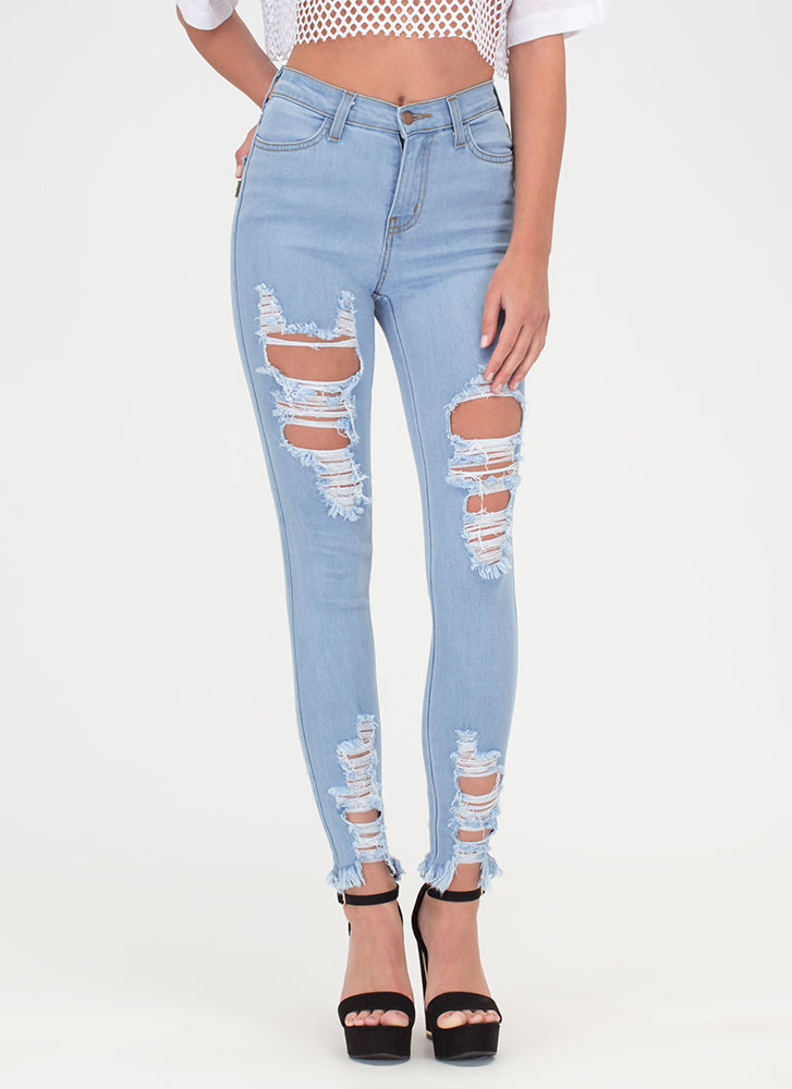 Fray Along High-Waisted Skinny Jeans LTBLUE