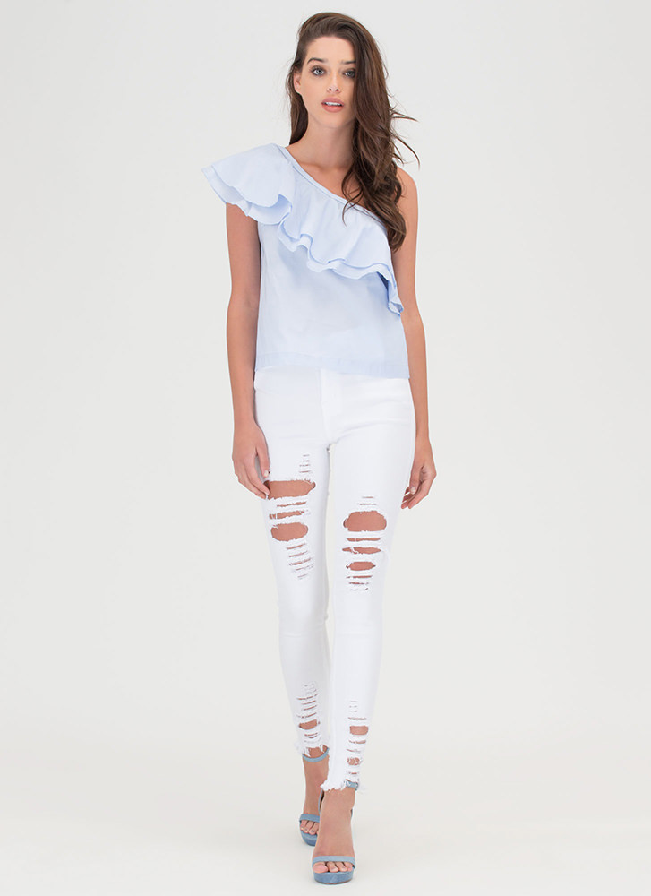 Fray Along High-Waisted Skinny Jeans WHITE