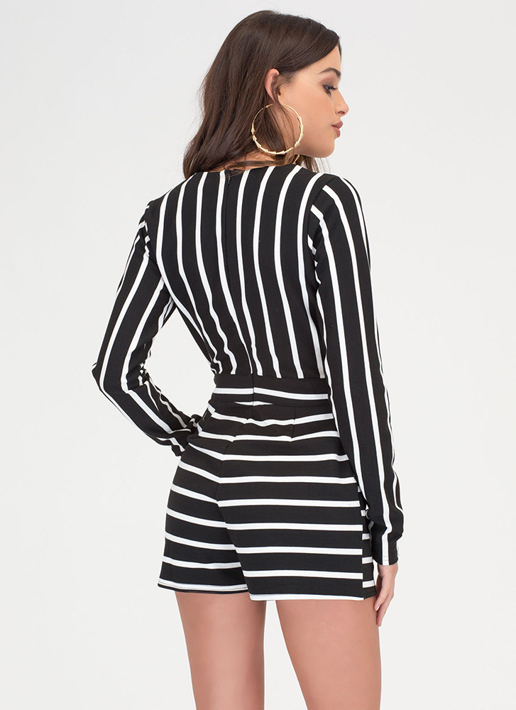 Life Lines Plunging Striped Romper BLACK