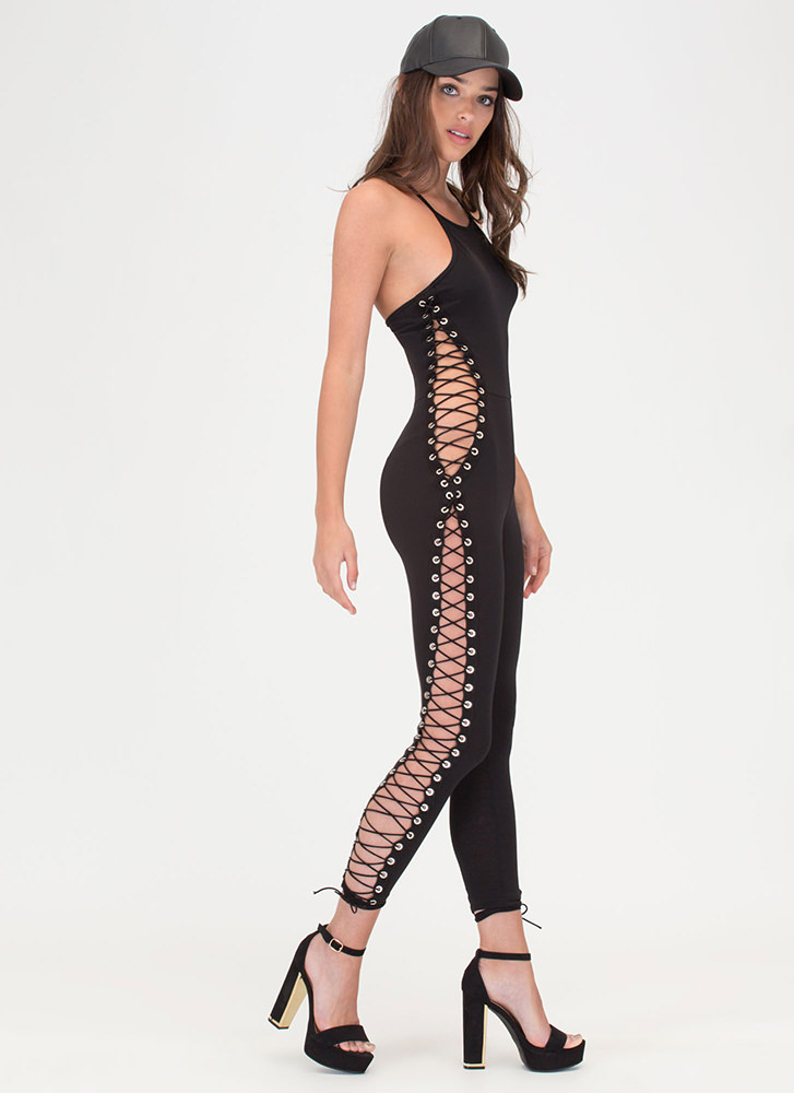 Strike A Cord Lace-Up Jumpsuit BLACK