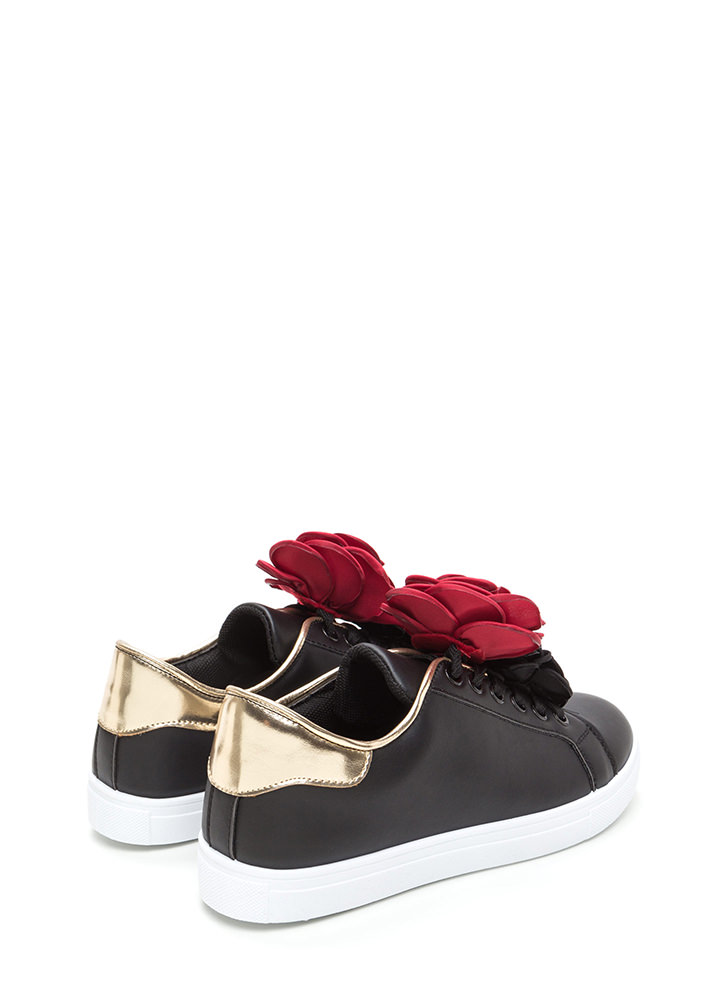 Coming Up Roses Faux Leather Sneakers BLACK