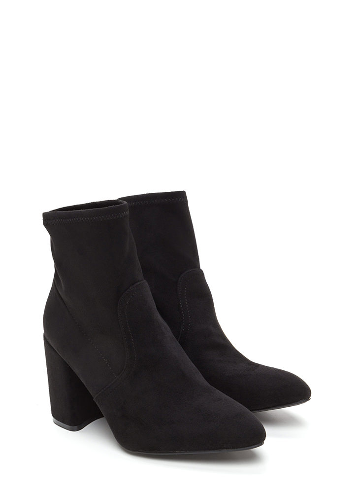 Everyday Chic Pointy Chunky Booties BLACK