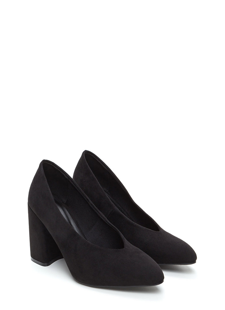 Point Blank Chunky Faux Suede Heels BLACK