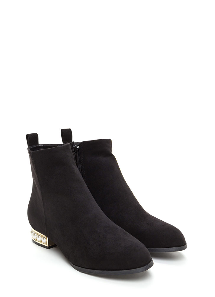 Everyday Glam Chunky Faux Suede Booties BLACK