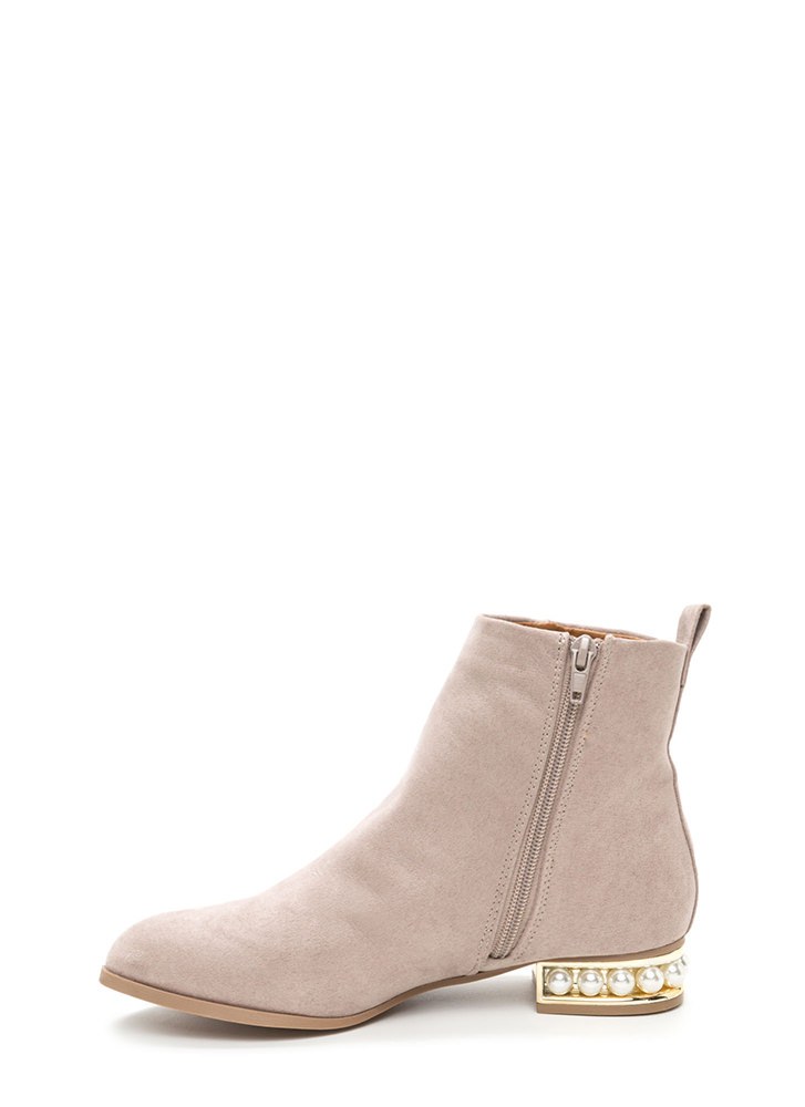 Everyday Glam Chunky Faux Suede Booties TAUPE