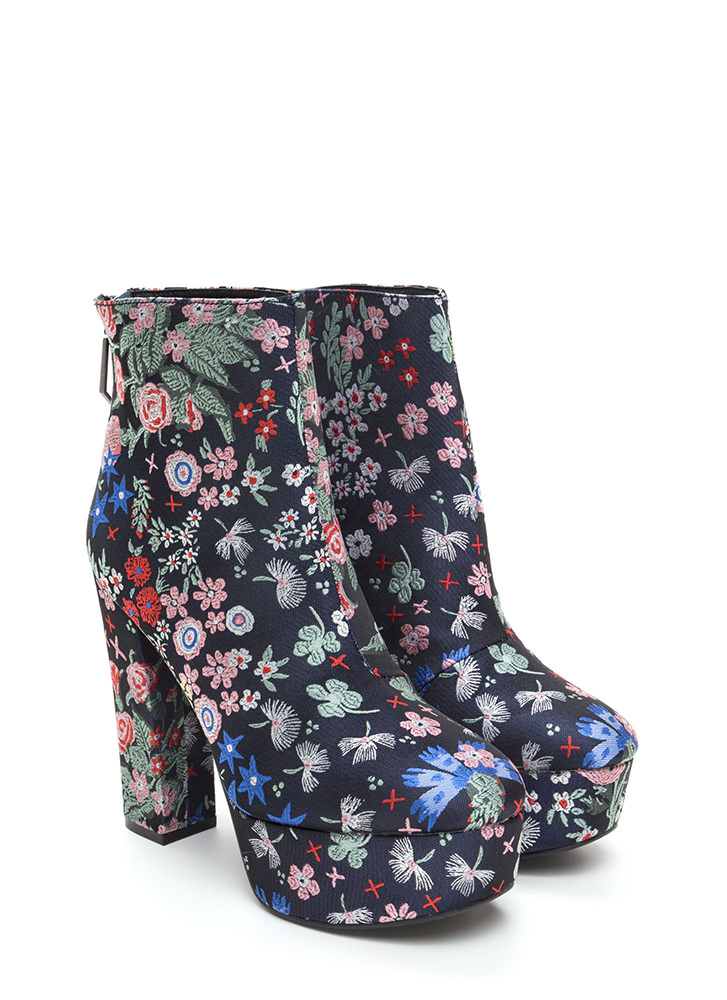 Flower Child Chunky Platform Booties NAVYMULTI