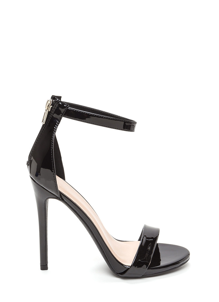 Perfect Ten Strappy Faux Patent Heels BLACK