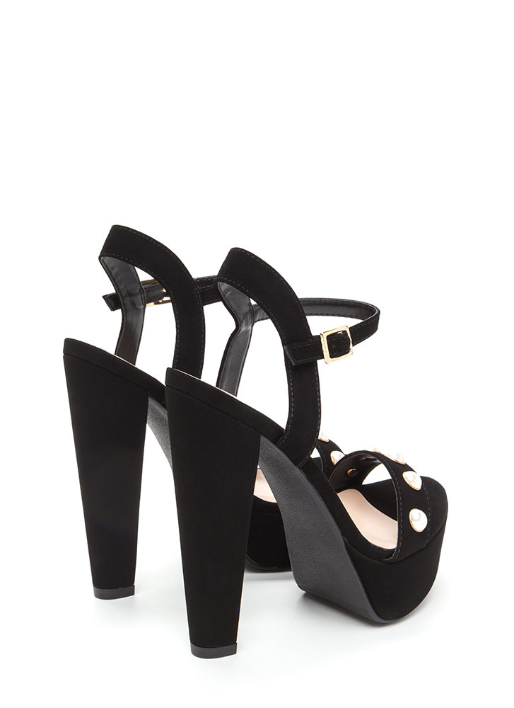 Luxe Touch Jeweled Faux Nubuck Heels BLACK