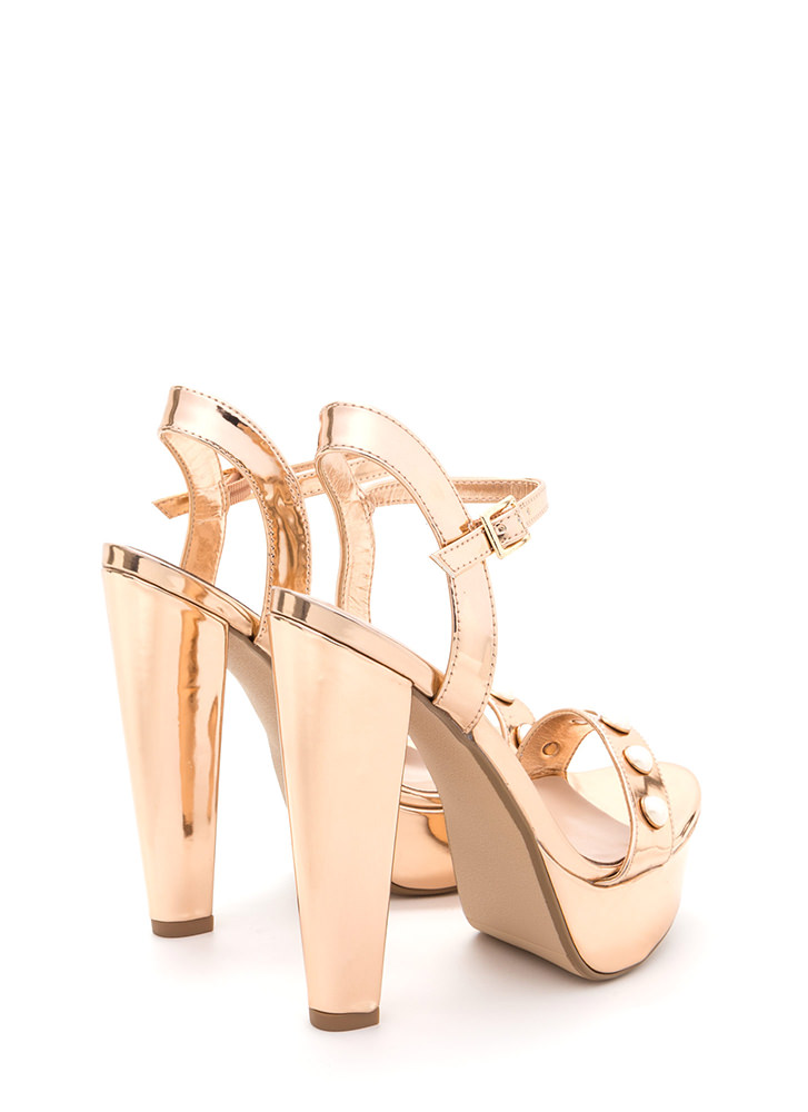 Luxe Touch Jeweled Metallic Heels ROSEGOLD